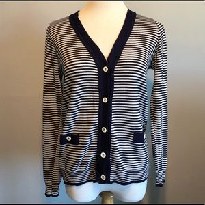 Blue & White Striped Cardigan Sweater Top- Small
